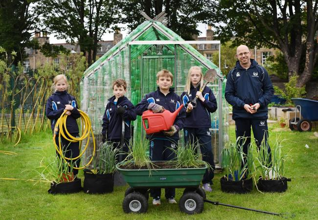RHS Young School Gardener of the Year 2019, William Rae, pictured with fellow P6 pupils, from left: Sophie, Alexander, Isabella and teacher Rob Tyrell.