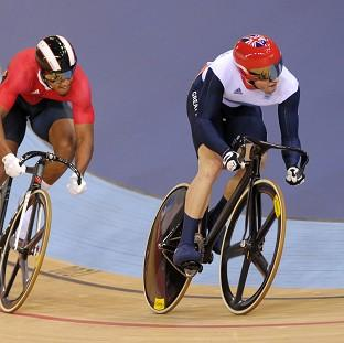 Jason Kenny, right, won the opening bout of his best-of-three contest in the men's sprint