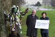 Launching the campaign are the Woodland Trust's director Patrick Cregg and tree lady Rosie Irwin; with Anna Lo MLA, Chair of the Assembly's Environment Committee.