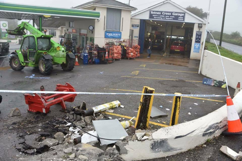 CID officers are investigating this theft at Totnes Cross, where stolen forklift trucks were used to steal the cash machine and in doing so, demolished part of the building.Log 105 21/08/17 refers.