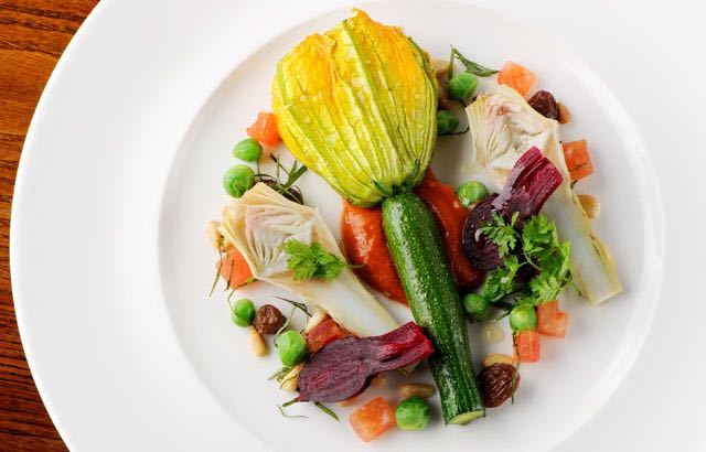 Stuffed Courgette Flowers by Dominic Chapman
