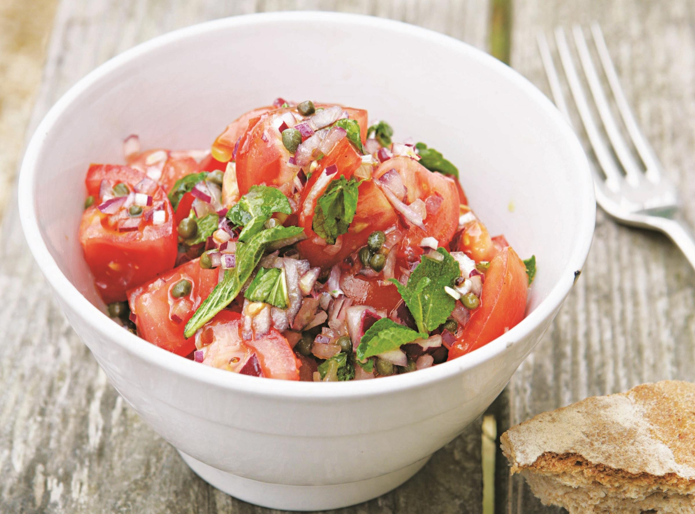 Hugh Fearnley-Whittingstall's tomato salsa salad with capers and mint