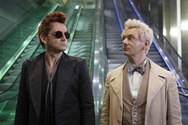 Michael Sheen as the angel, right, and David Tennant as the demon in Good Omens